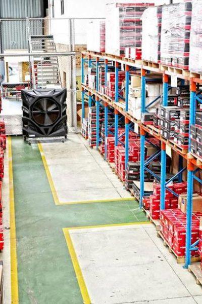 FoxAir Portable air cooler in an industrial warehouse
